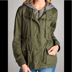Layered fashion military style jacket